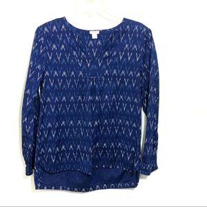 J Crew Ikat print cotton top blue split neck
